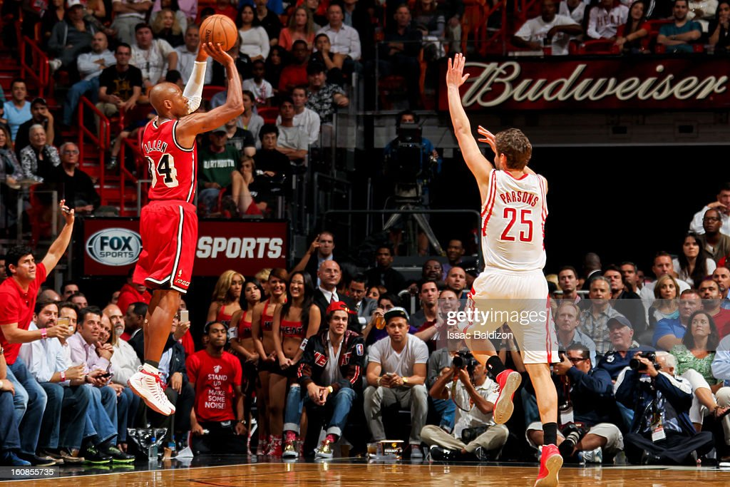 <a gi-track='captionPersonalityLinkClicked' href=/galleries/search?phrase=Ray+Allen&family=editorial&specificpeople=201511 ng-click='$event.stopPropagation()'>Ray Allen</a> #34 of the Miami Heat shoots a three-pointer against <a gi-track='captionPersonalityLinkClicked' href=/galleries/search?phrase=Chandler+Parsons&family=editorial&specificpeople=4249869 ng-click='$event.stopPropagation()'>Chandler Parsons</a> #25 of the Houston Rockets on February 6, 2013 at American Airlines Arena in Miami, Florida.