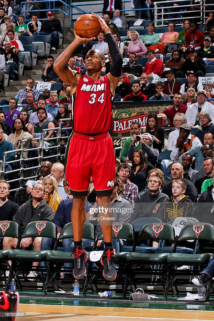 <a gi-track='captionPersonalityLinkClicked' href=/galleries/search?phrase=Ray+Allen&family=editorial&specificpeople=201511 ng-click='$event.stopPropagation()'>Ray Allen</a> #34 of the Miami Heat shoots a three-pointer against the Milwaukee Bucks in Game Three of the Eastern Conference Quarterfinals during the 2013 NBA Playoffs on April 25, 2013 at the BMO Harris Bradley Center in Milwaukee, Wisconsin.