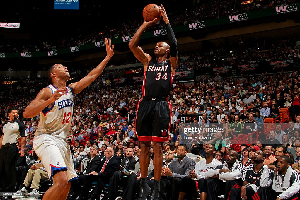 Ray Allen #34 of the Miami Heat shoots against Evan Turner #12 of the Philadelphia 76ers on March 8, 2013 at American Airlines Arena in Miami, Florida.