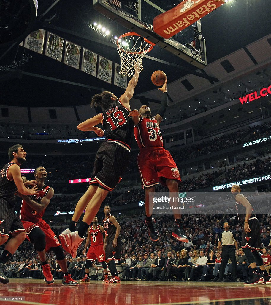 <a gi-track='captionPersonalityLinkClicked' href=/galleries/search?phrase=Ray+Allen&family=editorial&specificpeople=201511 ng-click='$event.stopPropagation()'>Ray Allen</a> #34 of the Miami Heat shoots against <a gi-track='captionPersonalityLinkClicked' href=/galleries/search?phrase=Joakim+Noah&family=editorial&specificpeople=699038 ng-click='$event.stopPropagation()'>Joakim Noah</a>#13 of the Chicago Bulls at the United Center on February 21, 2013 in Chicago, Illinois. The Heat defeated the Bulls 86-67.