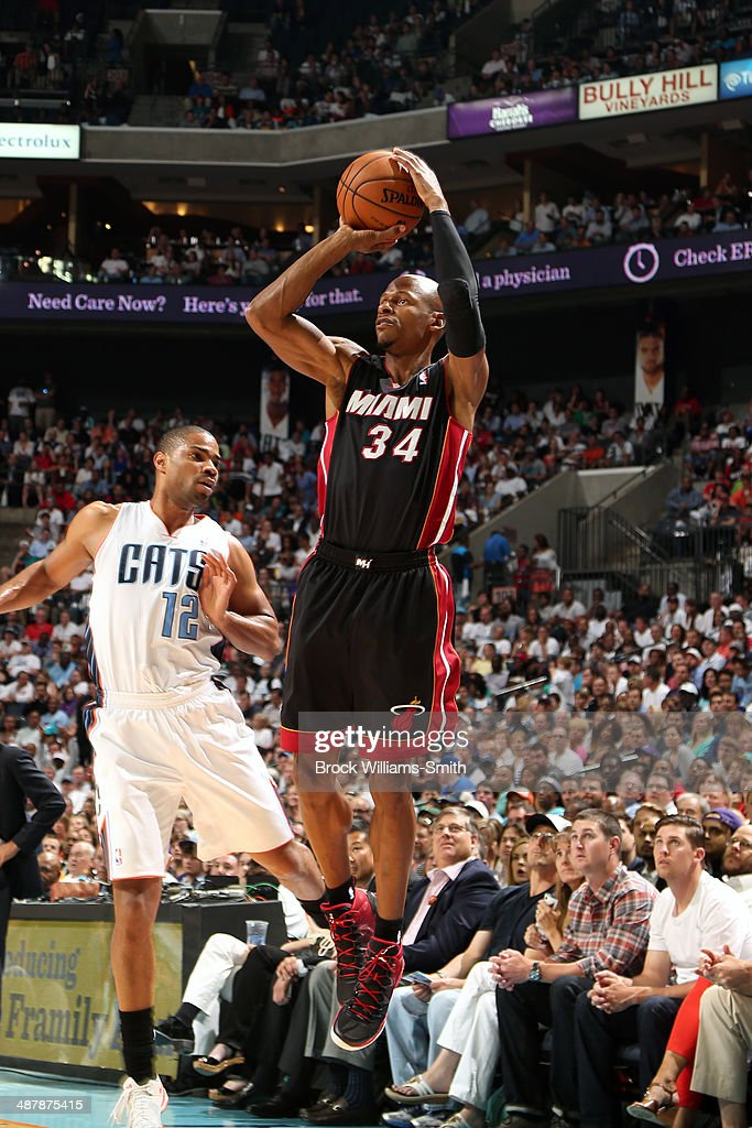 <a gi-track='captionPersonalityLinkClicked' href=/galleries/search?phrase=Ray+Allen&family=editorial&specificpeople=201511 ng-click='$event.stopPropagation()'>Ray Allen</a> #34 of the Miami Heat shoots against the Charlotte Bobcats in Game One of the Eastern Conference Quarterfinals of the 2014 NBA playoffs at the Time Warner Cable Arena on April 28, 2014 in Charlotte, North Carolina.