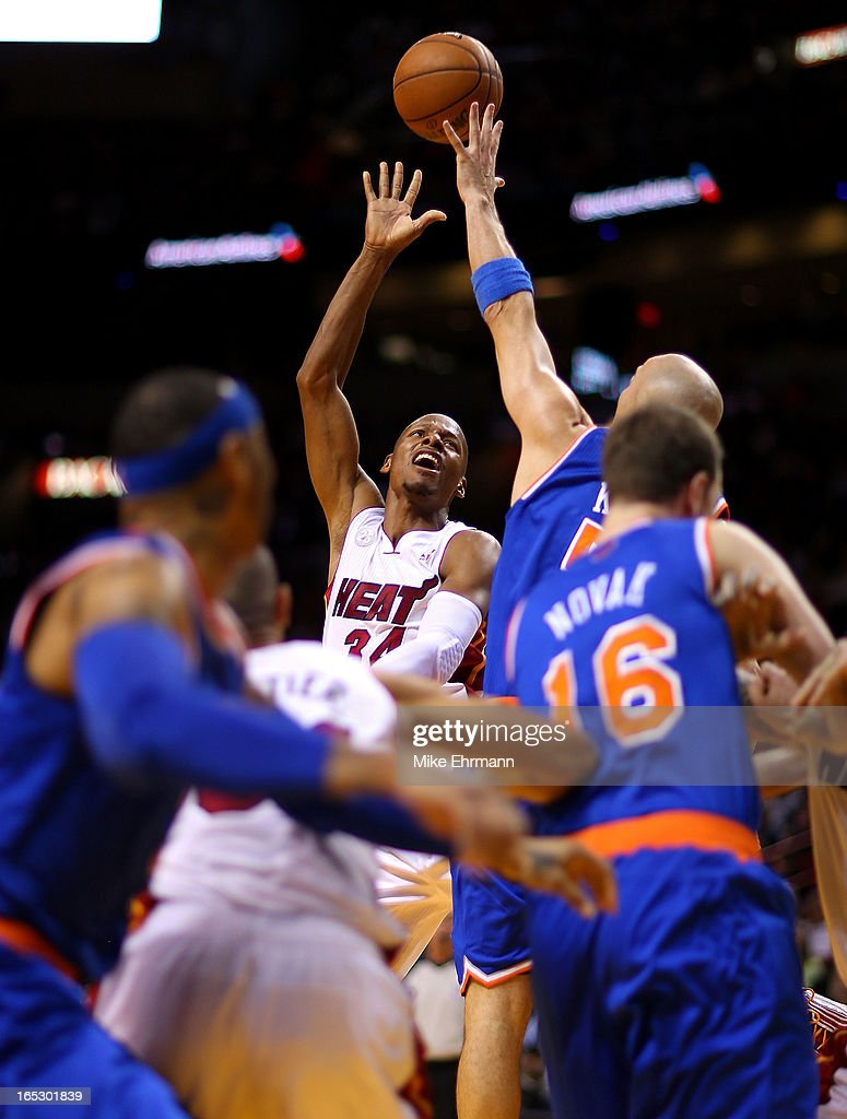 Ray Allen #34 of the Miami Heat shoots during a game against the New York Knicks at American Airlines Arena on April 2, 2013 in Miami, Florida.