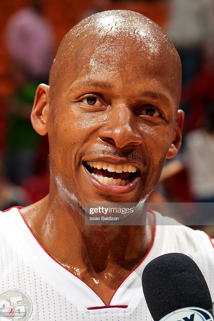 Ray Allen #34 of the Miami Heat smiles during a post-game following his team's victory against the Detroit Pistons on January 25, 2013 at American Airlines Arena in Miami, Florida.
