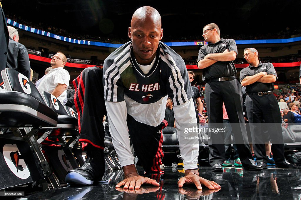 Ray Allen #34 of the Miami Heat stretches before playing the Philadelphia 76ers on March 8, 2013 at American Airlines Arena in Miami, Florida.