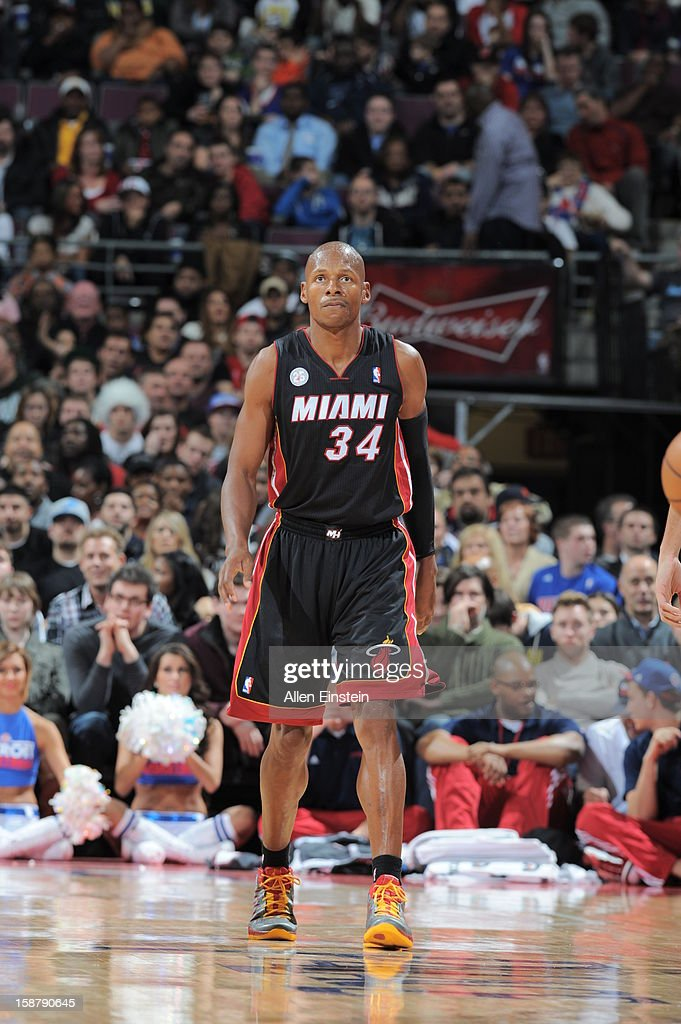 Ray Allen #34 of the Miami Heat walks up the court after a play against the Detroit Pistons during the game on December 28, 2012 at The Palace of Auburn Hills in Auburn Hills, Michigan.