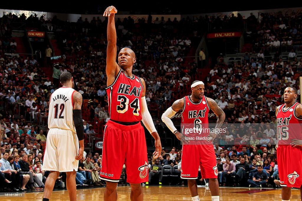 Ray Allen #34 of the Miami Heat warms up before taking a free-throw against the Portland Trail Blazers on February 12, 2013 at American Airlines Arena in Miami, Florida.