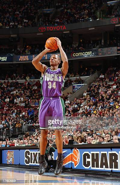 Ray Allen of the Milwaukee Bucks shoots a jump shot against the Philadelphia 76ers during the game at First Union Center on January 17 2003 in...