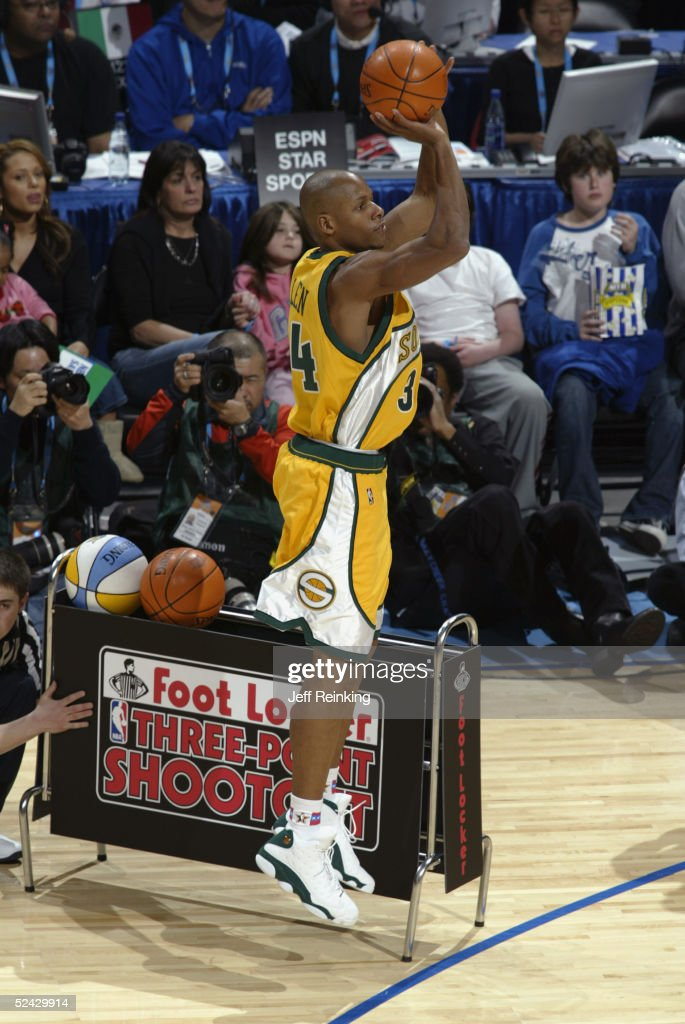 Ray Allen of the Seattle Seahawks attempts a threepointer at the Foot Locker ThreePoint Shootout during 2005 NBA AllStar Weekend at the Pepsi Center...