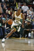 Ray Allen of the Seattle Sonics drives against the Toronto Raptors during the game at Key Arena on November 12 2004 in Seattle Washington The Sonics...