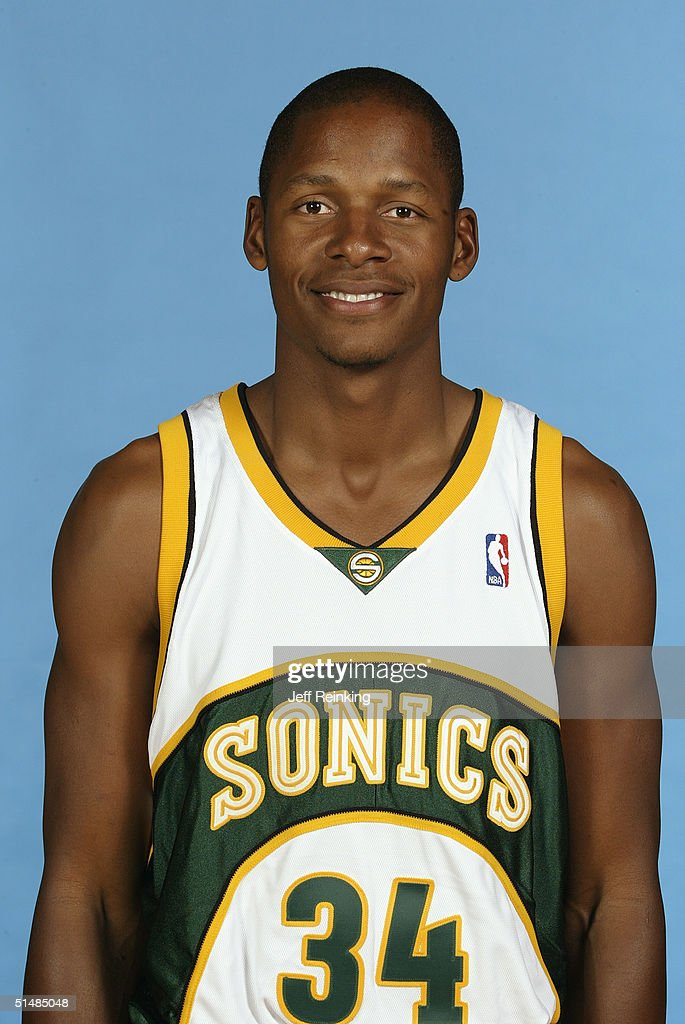 Ray Allen #34 of the Seattle Sonics poses for a portrait during NBA Media Day on October 4, 2004 in Seattle, Washington.