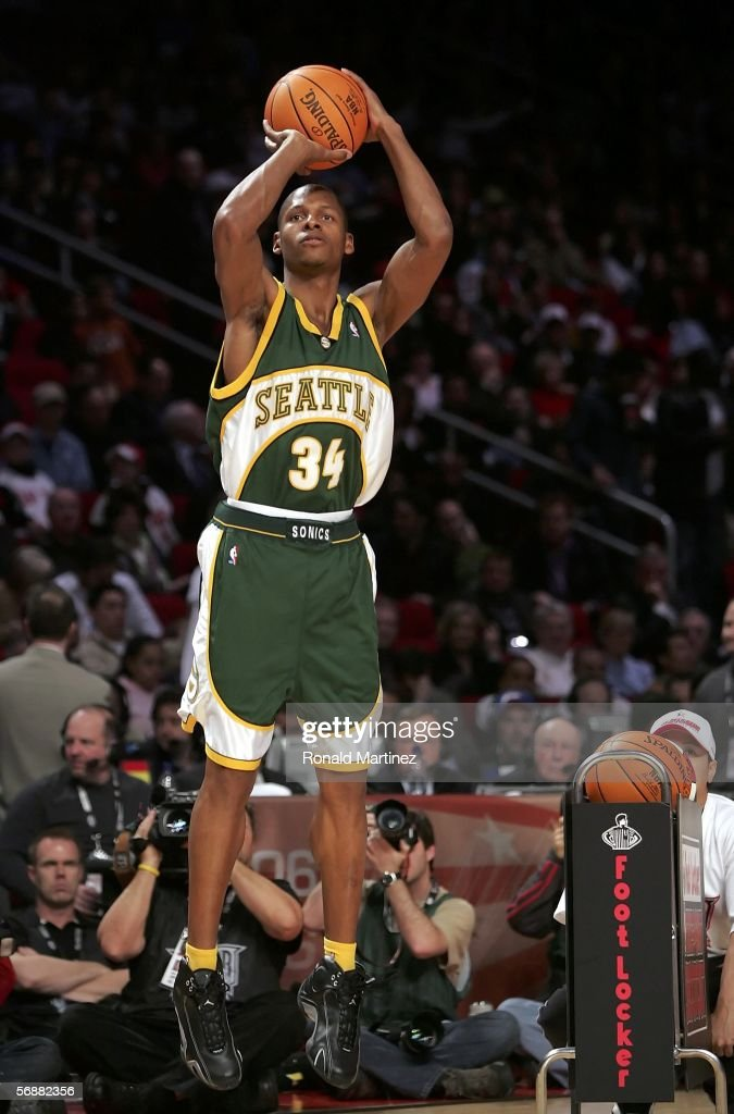 Ray Allen of the Seattle SuperSonics shoots in the Footlocker ThreePoint Shootout competition during NBA AllStar Weekend at the Toyota Center on...