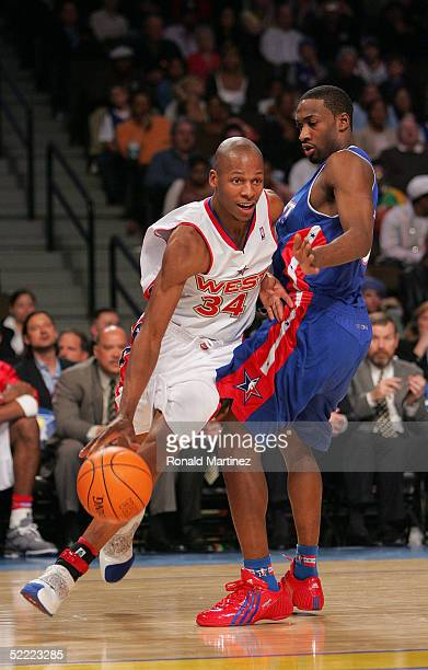 Ray Allen of the Western Conference AllStars moves the ball around Gilbert Arenas of the Eastern Conference AllStars during the 54th AllStar Game...