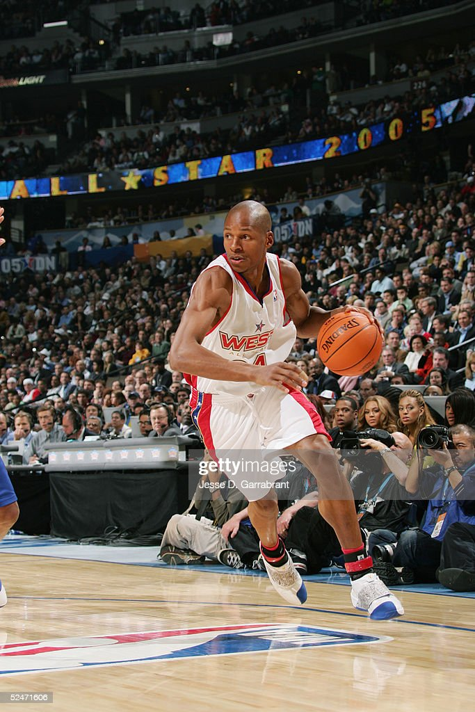 Ray Allen #34 of the Western Conference All-Stars moves the ball during the 54th All-Star Game, part of 2005 NBA All-Star Weekend at Pepsi Center on February 20, 2005 in Denver, Colorado. The East defeated the West 125-115.