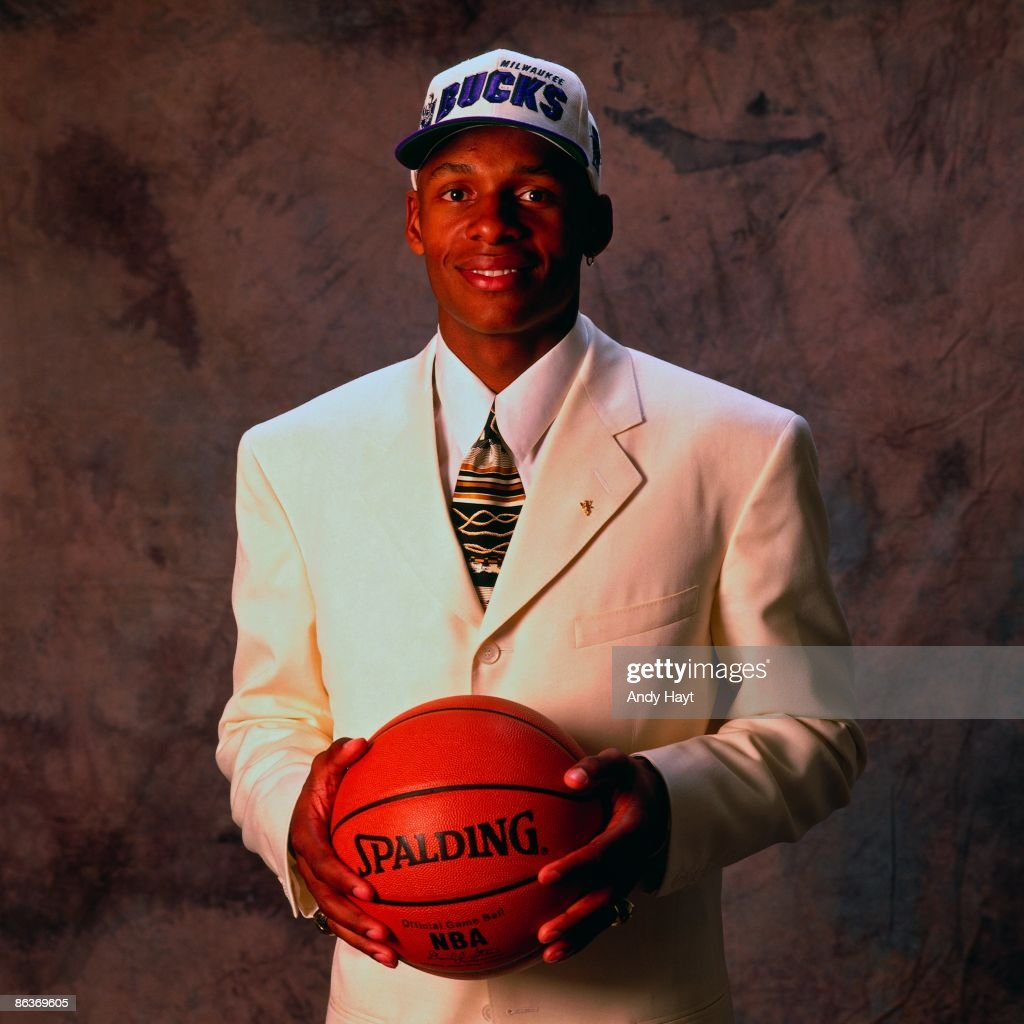 <a gi-track='captionPersonalityLinkClicked' href=/galleries/search?phrase=Ray+Allen&family=editorial&specificpeople=201511 ng-click='$event.stopPropagation()'>Ray Allen</a> poses for a portrait after being selected by the Milwaukee Bucks during the 1996 NBA Draft on June 26, 1996 at the Brendan Byrne Arena in East Rutherford, New Jersey.