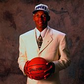 Ray Allen poses for a portrait after being selected by the Milwaukee Bucks during the 1996 NBA Draft on June 26 1996 at the Brendan Byrne Arena in...