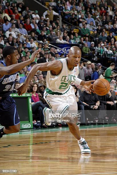 Ray Allen the Boston Celtics drives to the basket against Wesley Matthews of the Utah Jazz during the game at The TD Garden on November 11 2009 in...