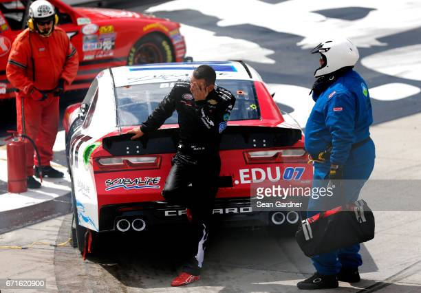 Ray Black II driver of the Scuba Life Chevrolet reacts after wrecking during the NASCAR XFINITY Series Fitzgerald Glider Kits 300 at Bristol Motor...