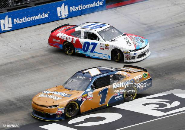 Ray Black II spins off Turn 4 during the Fitzgerald Glider Kits 300 NASCAR Xfinity Series race on April 22 2017 at Bristol Motor Speedway in Bristol...