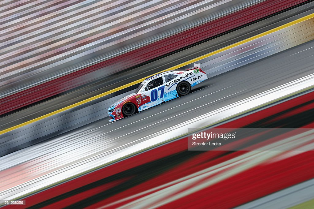 Ray Black Jr., driver of the #07 Scuba Life Chevrolet, practices for the NASCAR XFINITY Series Hisense 4K TV 300 at Charlotte Motor Speedway on May 27, 2016 in Charlotte, North Carolina.