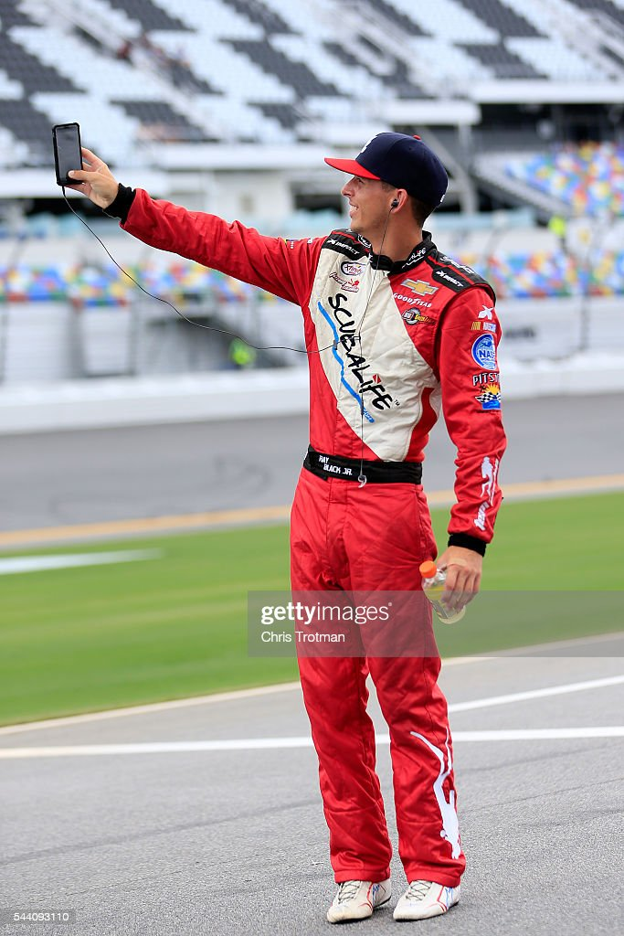 Ray Black Jr., driver of the #07 Scuba Life Chevrolet, stands on the grid during qualifying for the NASCAR XFINITY Series Subway Firecracker 250 at Daytona International Speedway on July 1, 2016 in Daytona Beach, Florida.