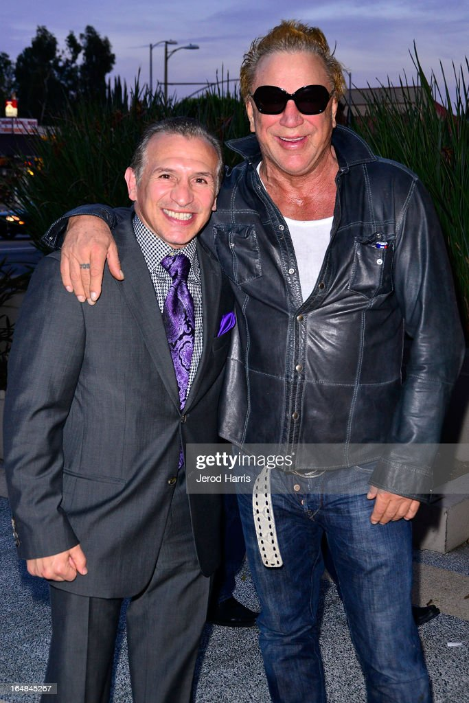 Ray 'Boom Boom' Mancini and actor <a gi-track='captionPersonalityLinkClicked' href=/galleries/search?phrase=Mickey+Rourke+-+Actor&family=editorial&specificpeople=208916 ng-click='$event.stopPropagation()'>Mickey Rourke</a> arrive at the Los Angeles premiere of 'The Good Son' at Linwood Dunn Theater at the Pickford Center for Motion Study on March 28, 2013 in Hollywood, California.
