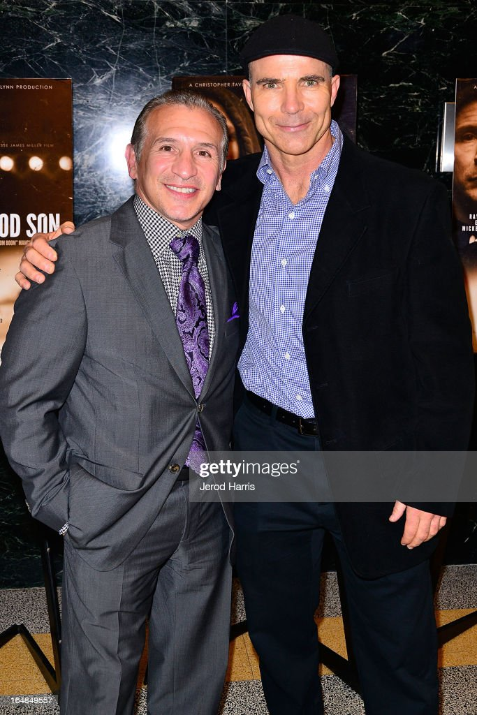 Ray 'Boom Boom' Mancini and Bob Jennings arrive at the Los Angeles premiere of 'The Good Son' at Linwood Dunn Theater at the Pickford Center for Motion Study on March 28, 2013 in Hollywood, California.