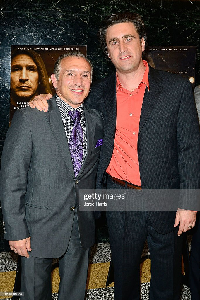Ray 'Boom Boom' Mancini and filmmaker Jesse James Miller arrive at the Los Angeles premiere of 'The Good Son' at Linwood Dunn Theater at the Pickford Center for Motion Study on March 28, 2013 in Hollywood, California.