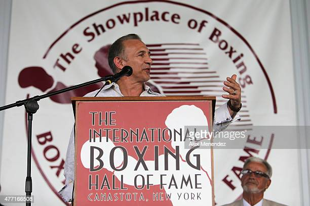 Ray 'Boom Boom' Mancini speaks to the crowd during the induction ceremony at the International Boxing Hall of Fame induction Weekend of Champions...