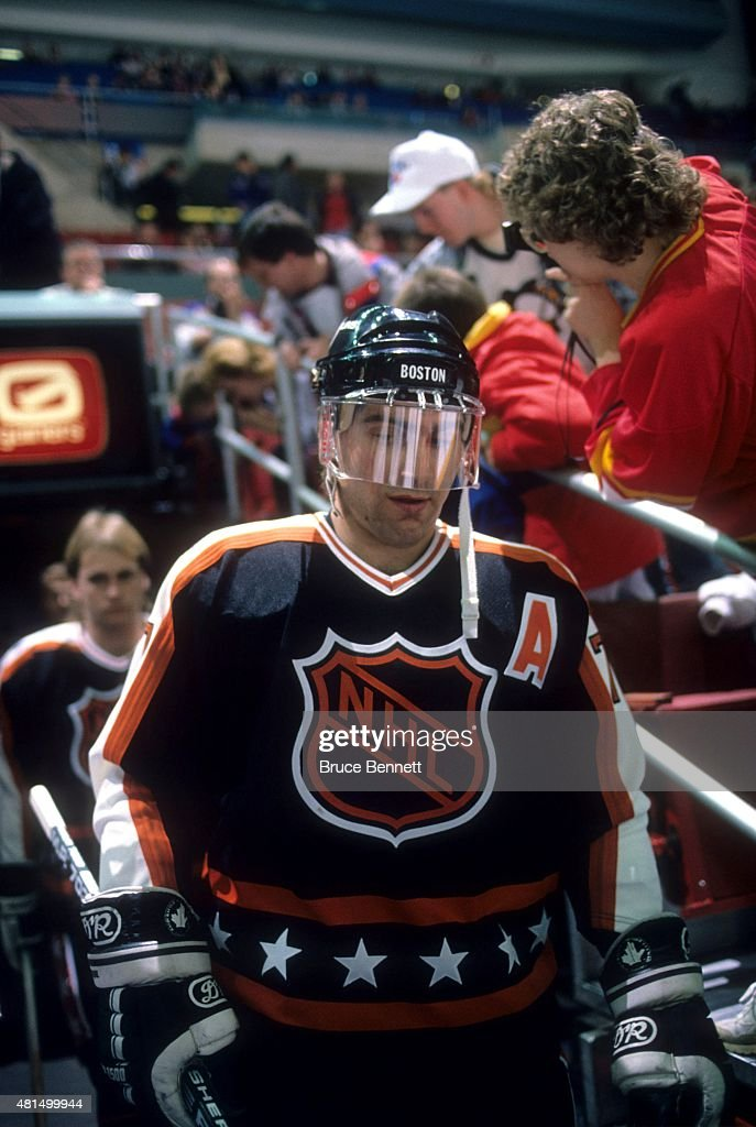 Ray Bourque of the Wales Conference and the Boston Bruins comes out of the tunnel before warmups during the 1989 40th NHL AllStar Game against the...