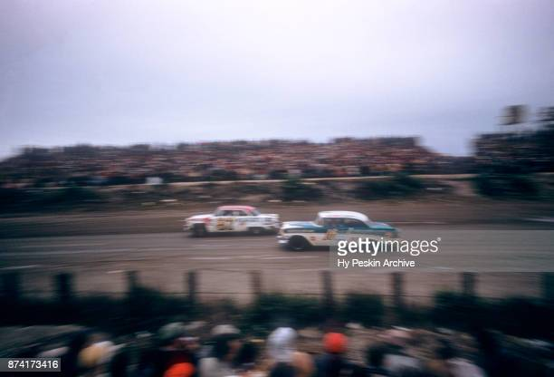Ray Chaike in the Chevrolet car races along the beach during the Daytona Beach and Road Course on February 26 1956 in Daytona Beach Florida
