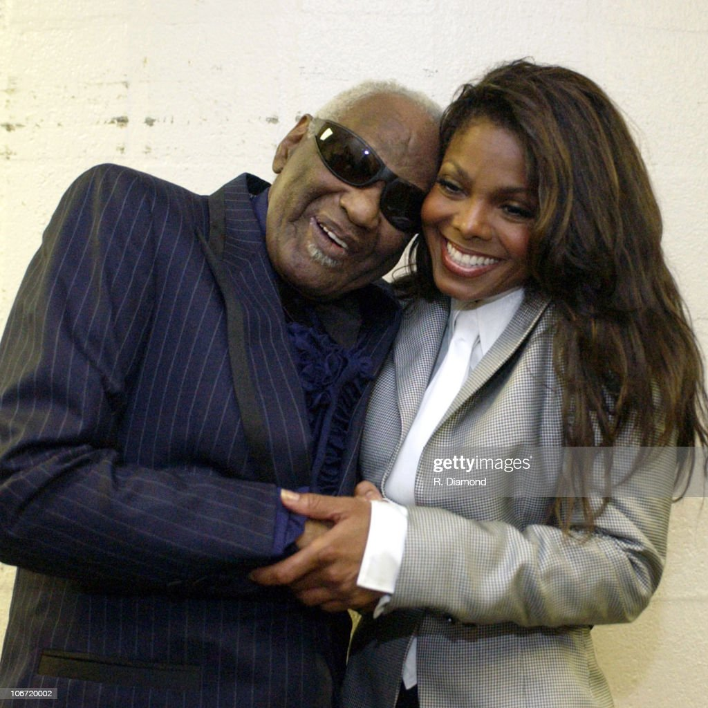 Ray Charles and Janet Jackson during 2002 Atlanta Heroes Awards Presented by The Atlanta Chapter of the Recording Academy at The Westin Peachtree Plaza in Atlanta, GA, United States.