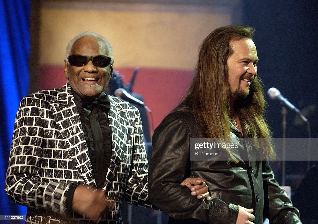 Ray Charles and Travis Tritt during Ray Charles and Travis Tritt Perform on CMT's Crossroads at Grand Old Opry House in Nashville, Tennessee, United States.