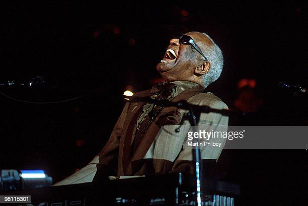 Ray Charles performs on stage at the Sidney Myer Music Bowl on 23rd February 2002 in Melbourne Australia