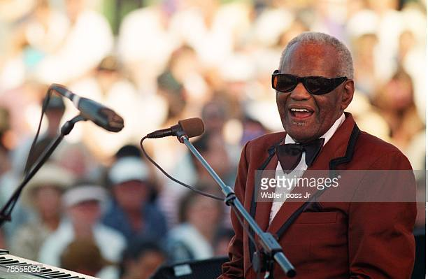Ray Charles performs on stage during a concert on September 9 1996 in Montauk New York