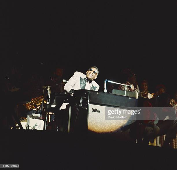 Ray Charles US singer and pianist playing the piano during a live concert performance at the Newport Jazz Festival in New York City New York USA in...