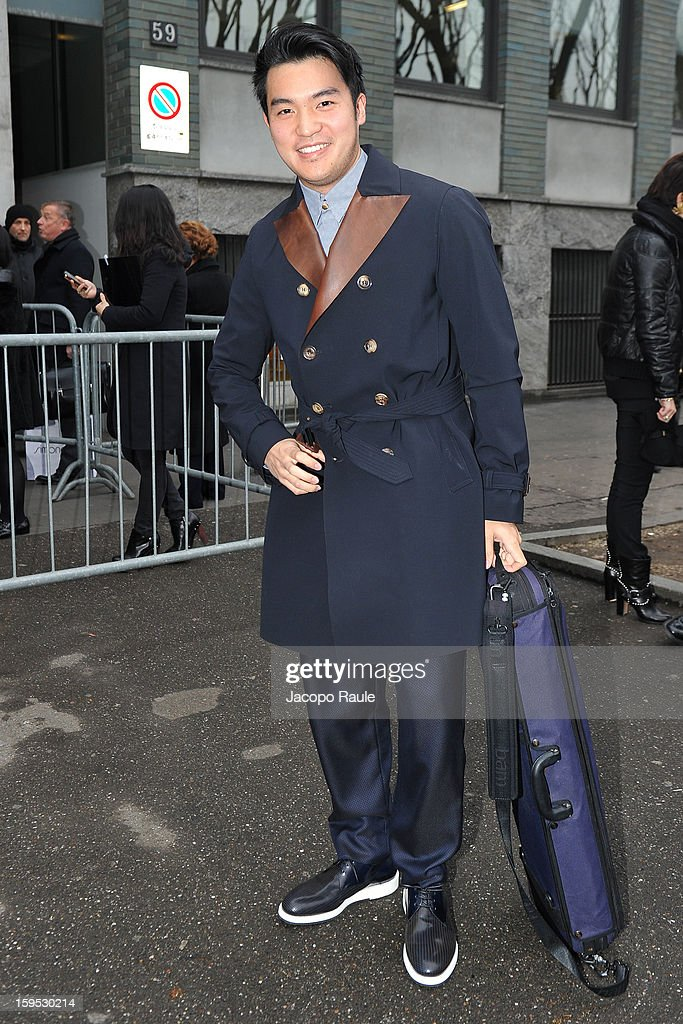 Ray Chen arrives at Giorgio Armani during Milan Fashion Week Menswear Autumn/Winter 2013 on January 15, 2013 in Milan, Italy.