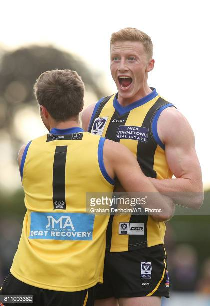 Ray Connellan of Sandringham celebrates kicking a goal during the round 12 VFL match between Sandringham and Footscray at Trevor Barker Beach Oval on...