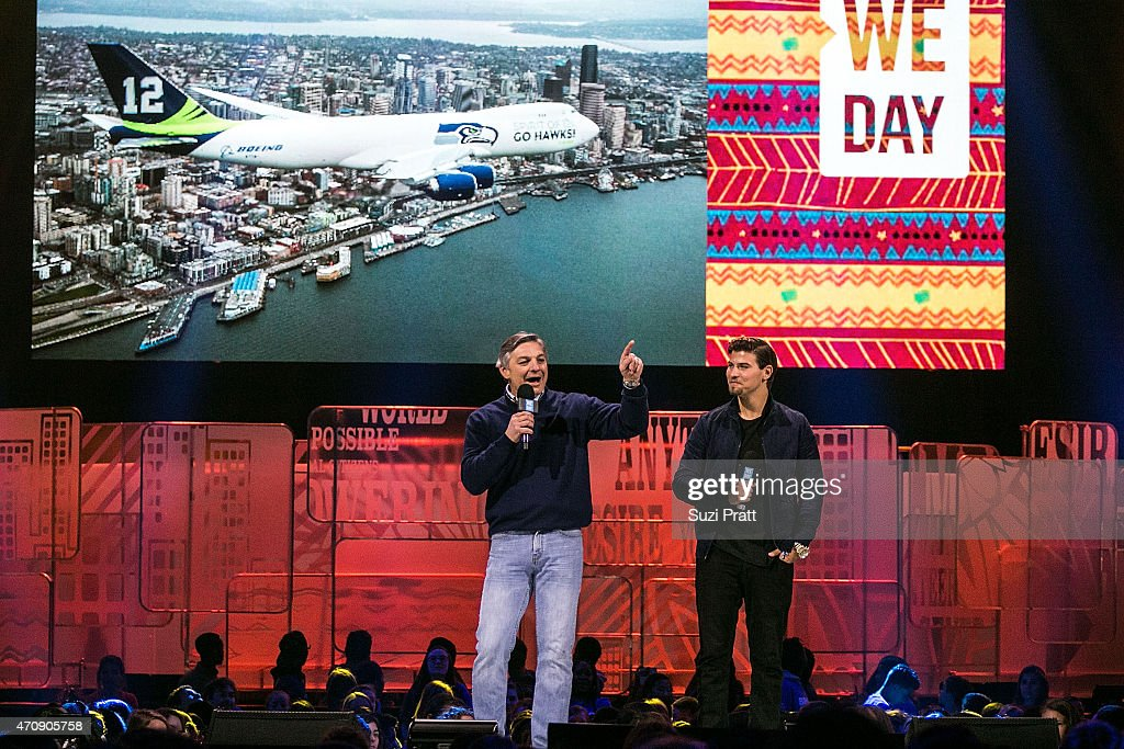 Ray Conner CEO of Boeing Commercial Airplanes and actor Luke Bilyk speak at We Day at KeyArena on April 23 2015 in Seattle Washington