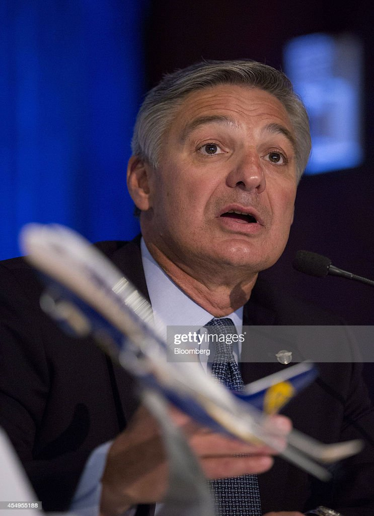 <a gi-track='captionPersonalityLinkClicked' href=/galleries/search?phrase=Ray+Conner&family=editorial&specificpeople=7660065 ng-click='$event.stopPropagation()'>Ray Conner</a>, chief executive officer of Boeing Commercial Airplane Group, speaks during a news conference in New York, U.S., on Monday, Sept. 8, 2014. Ryanair Holdings Plc agreed to buy as many as 200 Boeing Co. 737 Max jets valued at $22 billion at list price after pushing the planemaker to develop a new version that squeezes in more seats. Photographer: Jin Lee/Bloomberg via Getty Images