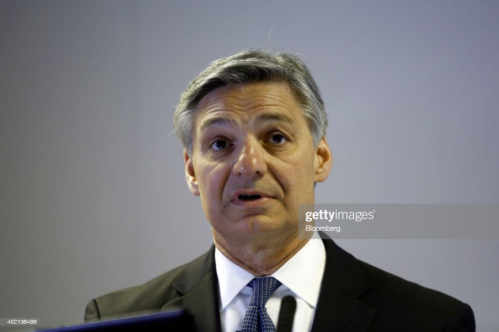 Ray Conner president and chief executive officer of Boeing Commercial Airplanes speaks during a news conference on the first day of the Farnborough...
