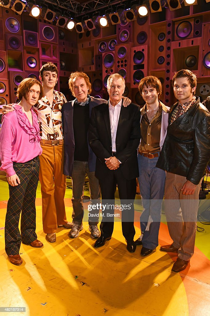 Ray Davies (3L) and Sir Geoff Hurst (3R) pose onstage with cast members (L to R) Ryan O'Donnell, John Dagleish, Adam Sopp and Ned Derrington following a performance of 'Sunny Afternoon' at Harold Pinter Theatre on July 27, 2015 in London, England.