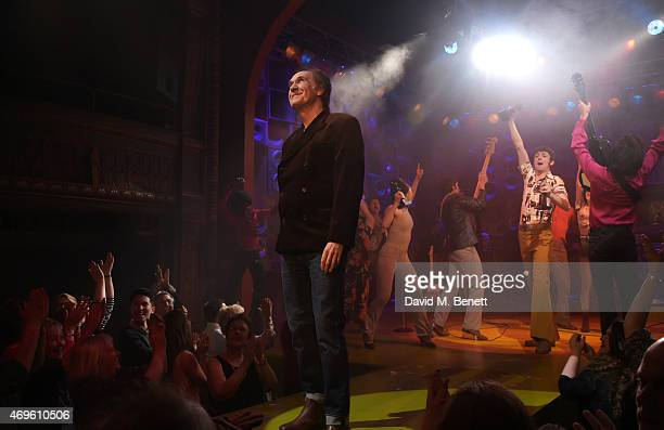 Ray Davies and the cast of 'Sunny Afternoon' including John Dagleish George Maguire Adam Sopp and Ned Derrington celebrate their Olivier Award wins...