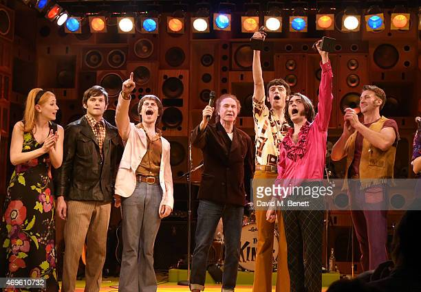Ray Davies and the cast of 'Sunny Afternoon' including Ned Derrington Adam Sopp John Dagleish and George Maguire celebrate their Olivier Award wins...