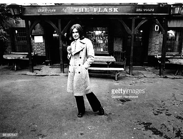 Ray Davies from The Kinks posed outside the Flask pub on Highgate West Hill London in 1972