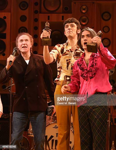 Ray Davies John Dagleishm and George Maguire celebrate their Olivier Award wins onstage at The Harold Pinter Theatre on April 13 2015 in London...