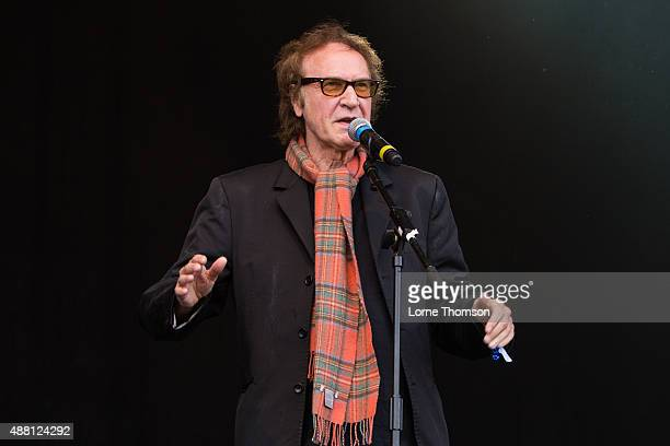 Ray Davies makes a brief appearance with the cast of Sunny Afternoon on the Main Stage at Blackheath Common on September 13 2015 in London England