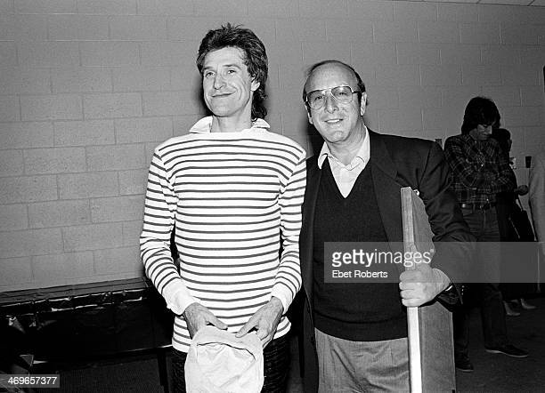 Ray Davies of The Kinks and Clive Davis backstage at a Kinks show at the Meadowlands in East Rutherford New Jersey on January 10 1982