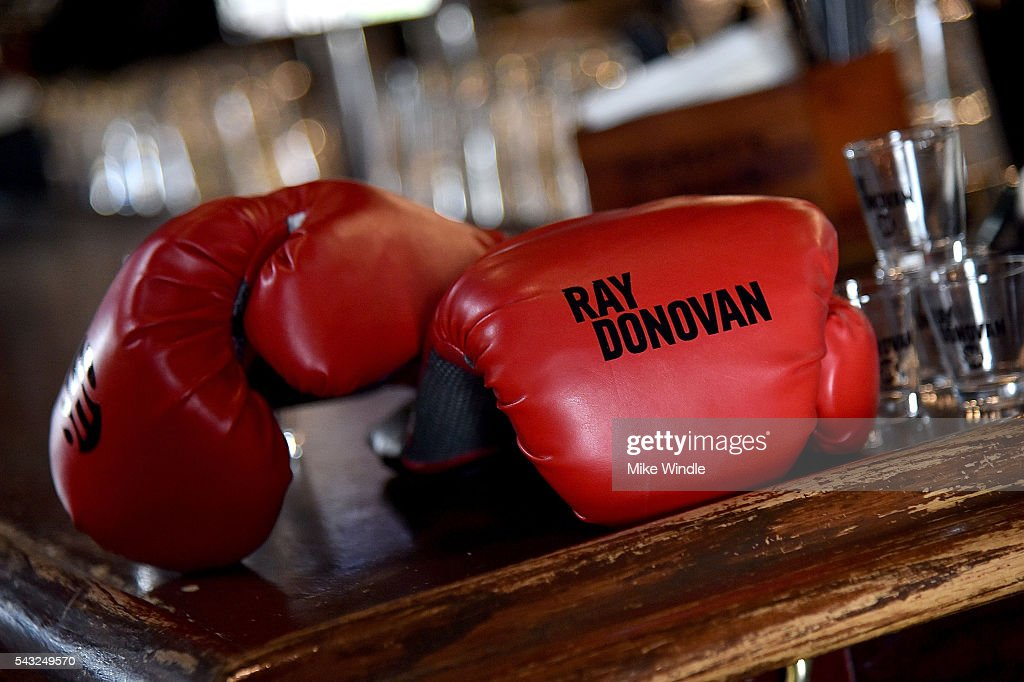 Ray Donovan branded boxing gloves are seeing during a viewing party for Showtime's 'Ray Donovan' at O'Brien's Irish Pub on June 26, 2016 in Santa Monica, California.
