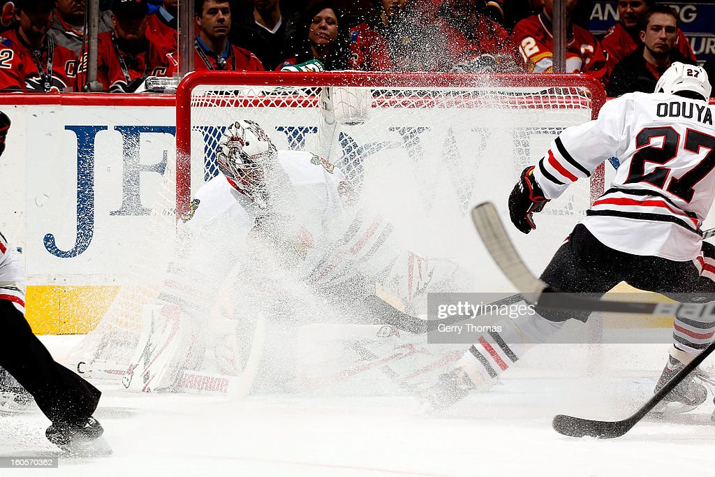 <a gi-track='captionPersonalityLinkClicked' href=/galleries/search?phrase=Ray+Emery&family=editorial&specificpeople=218109 ng-click='$event.stopPropagation()'>Ray Emery</a> #30 of the Chicago Blackhawks is sprayed with snow while skating in net against the Calgary Flames on February 2, 2013 at the Scotiabank Saddledome in Calgary, Alberta, Canada.