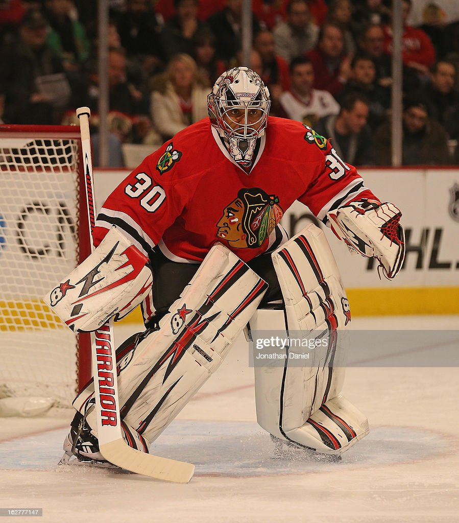 <a gi-track='captionPersonalityLinkClicked' href=/galleries/search?phrase=Ray+Emery&family=editorial&specificpeople=218109 ng-click='$event.stopPropagation()'>Ray Emery</a> #30 of the Chicago Blackhawks keeps his eyes on the action against the Edmonton Oilers at the United Center on February 25, 2013 in Chicago, Illinois. The Blackhawks defeated the Oilers 3-2 in overtime.